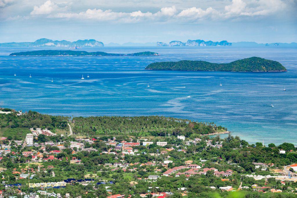 Phi Phi islands and Koh Lanta at the horizon.